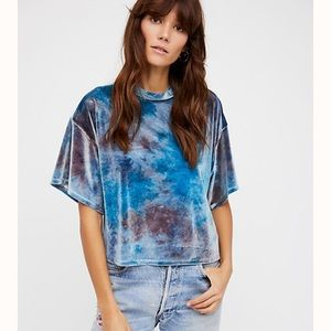 We the Free People Blue Need You Velvet Tee Small